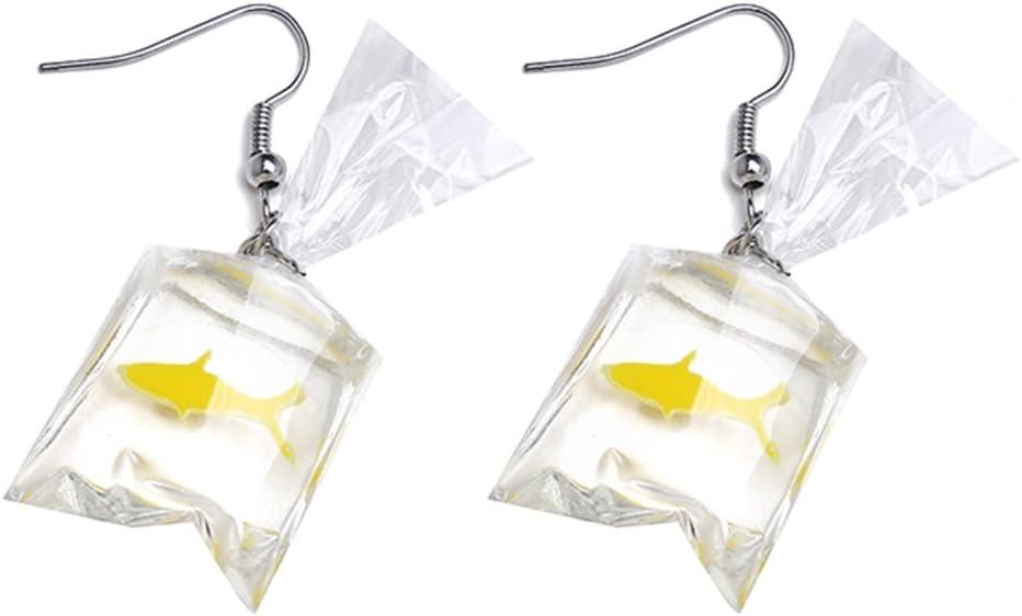 Kshcf Transparent Earrings Summer Funny Carp Fish Dangle Earrings Temperament Long Hook Earrings,Ear Clip red