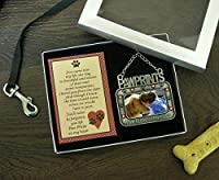 Pet Memorial Photo Ornament - Pawprints on my Heart Embossed on the front with Black Paw Prints and Hearts - Pet Sympathy