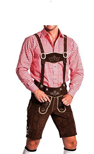 Herren Trachtenlederhose - kurz mit abnehmbaren Hosenträgern - Trachten Lederhose Original FROHSINN (dunkelbraun, 52)