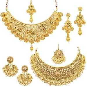 Sukkhi Glamorous LCT Gold Plated Wedding Jewellery Pearl Choker Necklace Set Combo For Women (CB73381)