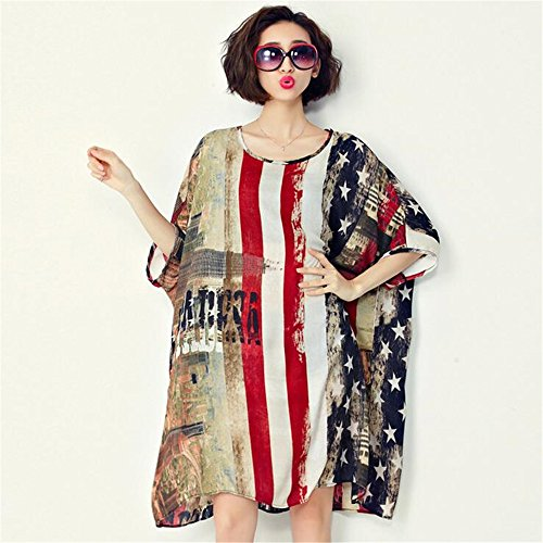 2016 summer Olympic Games American flag pattern chiffon sleeve loose dress Free size