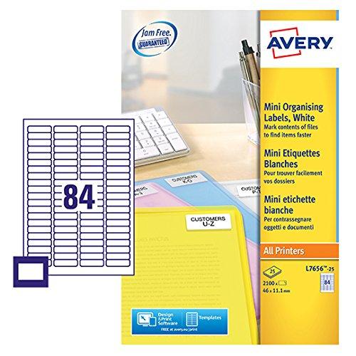 Avery Mini etichette laser, colore: Bianco Avery Tico Srl L7656-25