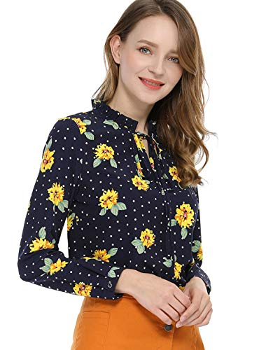 Allegra K Women's Tie Ruffled Neckline Polka Dots Long Sleeves Floral Blouse Tops Blue Yellow S (US 6)