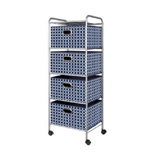 Bintopia 4 Drawer Trolley Cart Geometric Navy by Bintopia