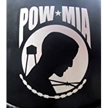 "Reflective POW MIA - 2 3/8"" x 3"" die cut vinyl decal for helmets, windows, cars, trucks, tool boxes, laptops, MacBook - virtually any hard, smooth surface"