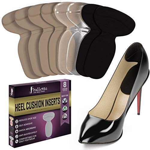 (Women Heel Cushion Inserts - Premium Heel Grips & Shoe Pads - Non Slip Gel Back of Heel Liners, Blister Prevention and Protectors for Womens Loose Shoes and High Heels Too Big)