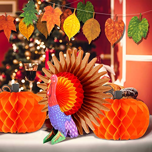 (Jetec 2 Pieces Thanksgiving Honeycomb Tissue Pumpkins with Tissue Turkey Centerpiece and Maple Leaves Banner for Thanksgiving Party Decorations)