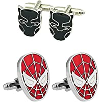 Outlander Gear Marvel Comics 2 Pairs Black Panther & Spiderman Superhero 2018 Movie - Wedding Wakanda Groom Groomsmen Mens Boys Cufflinks