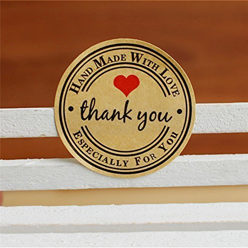 Aimeio 20 Sheets/240 Round Kraft Paper Thank You Hand Made with Red Heart Hape Kraft Paper Adhesive Label Planner Decoration Scrapbooking Diary Stickers