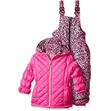 Pink Platinum girls Quilted Snowsuit With Cheetah Print