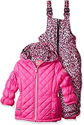 Pink Platinum Little Girls\' Quilted Snowsuit with Cheetah Print, Pink, 5/6