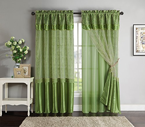 """Double-Layer Window Curtain Drapery Panel: Green Back Panel with Green Embroidered Sheer Front and Valance, 55""""x90"""""""