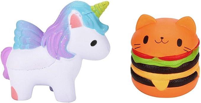 Fossrn Squishy Pack Kawaii Squishy Unicornio Grande Hamburguesa Gato (Pack 1/ Unicornio + Hamburguesa Gato): Amazon.es: Ropa y accesorios