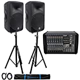 Mackie PPM1008 8-Ch. 1600W Powered Mixer+(2) Mackie C200 10' PA Speakers+Stands