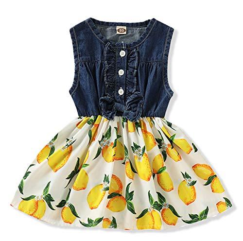 Little Girls Tutu Dress Denim Tops Peach Fruit Print Sleeveless Skirt Dresses One-Piece Princess Skirts (Blue +Yellow, 3-4 Years)