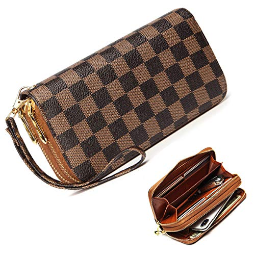 Wristlet Wallets for Women Long Womens Wallet Leather Clutch RFID Blocking with Card Holder Double Zippers (Brown)