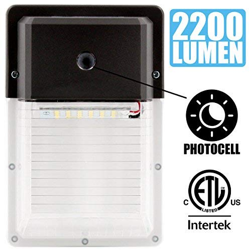 LED Wall Pack Light,18W 2200lm 5000K Daylight, Photocell Sensor with Dusk to Dawn Funcation, IP65 Rated, 100-277Vac, 5-Year Warranty, Equivalent to150W, 18W 5000K (1PK)