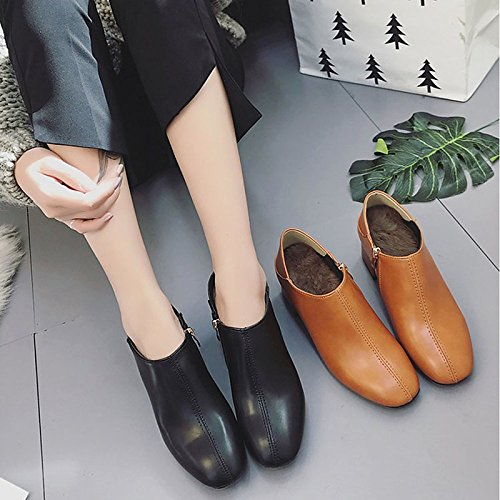 Zapatos mujer para Comfort marrón ZHZNVX Botas Negro PU HSXZ de Muelle Fall Exterior Marrón qTaaHR