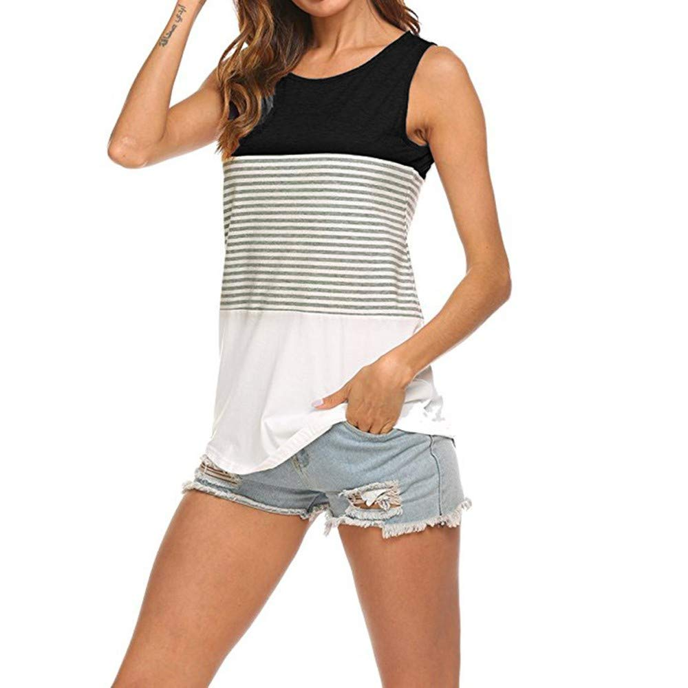 Women Casual Round Neck Strapless Top Vest Safety Sleeveless Striped Summer Cami Tank Blouse Black