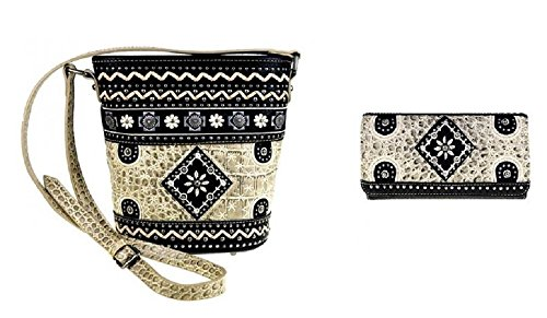 - Montana West Aztec Flower Messenger Bag Purse Wallet (BLACK BONE)
