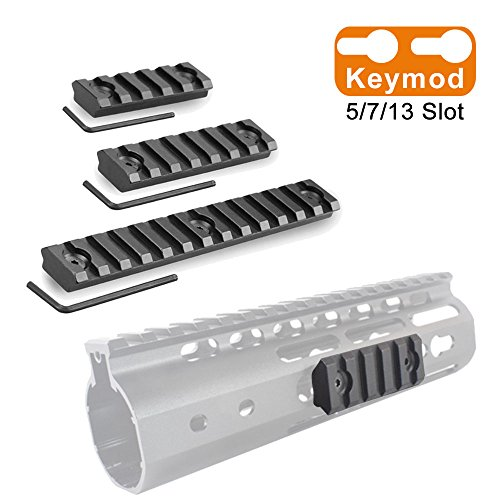 Alritz Picatinny Keymod Rail Mount Sections, 3-Slot 7-Slot 13-Slot Aluminum Rail Set for Keymod Picatinny Handguard Rail Systems, 3 Allen Wrench Included, Matte Black by Alritz
