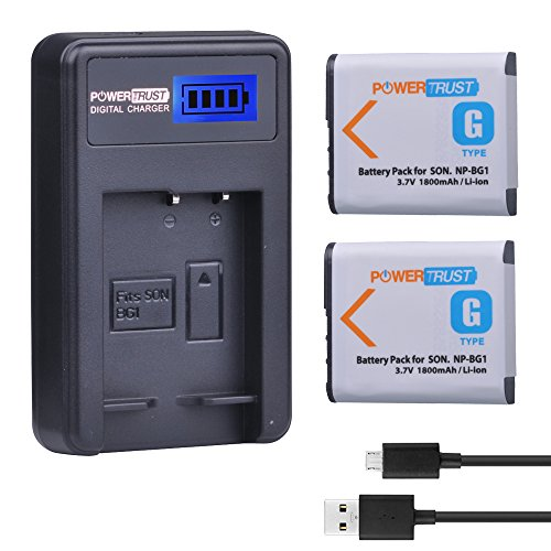 - Powertrust 2 Pack 1800mAh NP-BG1 Camera Battery and LCD USB Charger For Sony DSC W130 W210 W220 W300 H10 H50 H70 W290 HX7 HX10 HX30 WX10 H55 HX9 T20