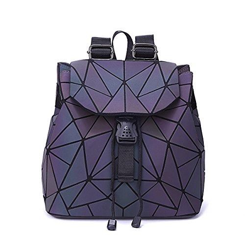 Geometric Holographic Luminous Backpack Lattice Purses and Handbags for Women Christmas Gift