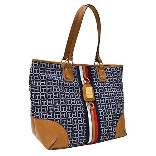 Tommy Hilfiger Logo large Travel Tote Bag Handbag Purse - Blue/White