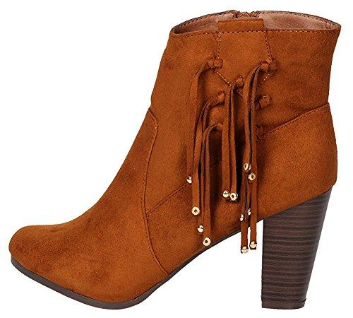 Bootie Women's Chunky Stacked Ankle Tan Heel Breckelles Bead Fringe Western Tassel 7xCHdHwzq