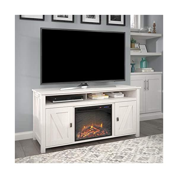 """Ameriwood Home Farmington Electric Fireplace Console 60"""", Ivory Pine TV Stand"""