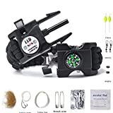 Auchee LED SOS Emergency Paracord Bracelet Fishing Kit |The ULTIMATE 15 in 1 Tactical Survival Gear| Perfect Cycling Hiking Camping Fishing Hunting (Black Fishing Kit, Cobra 9inch)