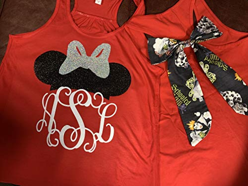 (Handmade Disney Halloween shirt ~ Minnie Mouse Personalized Shirt with Disney Villians bow on back of shirts ~ Not So Scary Mickey Mouse Halloween)