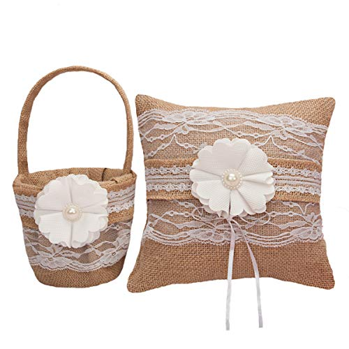 M&A Decor Flower Girl Basket and Ring Bearer Pillow Set for Rustic Wedding, Burlap Ring Holder with Lace for Bridal Country Wedding Decoration, Wedding Gifts from M&A Decor