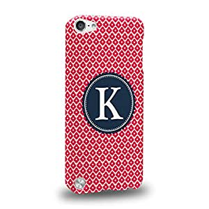Case88 Premium Designs Art Collections Hand Drawing Alphabet K Argyle Chevron Stripe Dotted Carcasa/Funda dura para el Apple iPod Touch 5