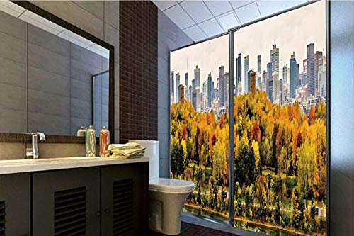 Horrisophie dodo 3D Privacy Window Film No Glue,Fall,Montreal Downtown Skyscrapers Autumn Various Trees Colorful Forest Urban Life Nature,Multicolor,47.24