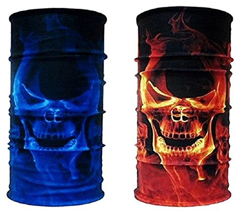 Couples 2 Piece Set Ghost Blue and Orange Flames Skull Face Gaiter Neck Tube Mask Motley Tubular Ski Bandana Dust, Sun Blocking Scarf Disguise Costume Gift