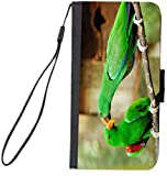 UKBK Green Eclectus Parrots in Love Parrots Kissing Design Galaxy S7 Edge PU Leather Wallet Flip Case with Kickstand and Magnetic Flap (for Samsung Galaxy S7 Edge ONLY)