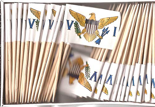 US Virgin Islands Mini Country Toothpick Flags, 100 Small International Mini Flag Cupcake Toothpicks or Cocktail Sticks & Picks (US Virgin Islands, 1 Box of 100-100 Total Toothpicks) ()