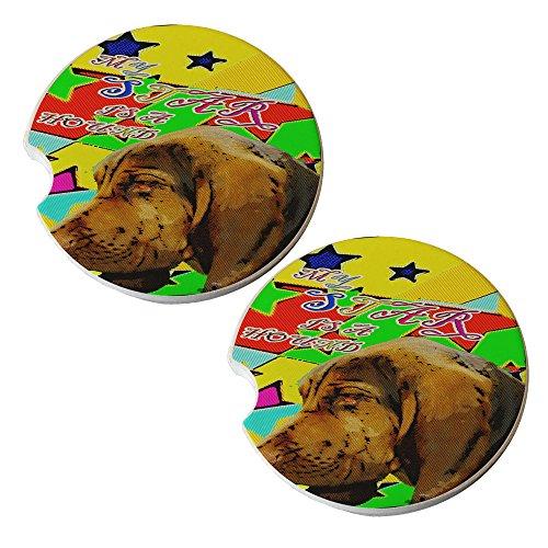 Hound Dog Star - Sandstone Car Drink Coaster (set of 2 coasters)