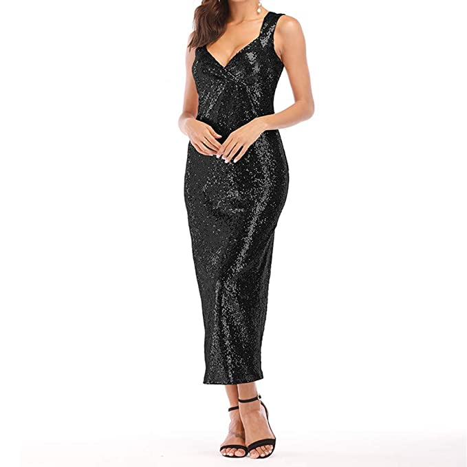 a3cc4078 Women's Sequin Bodycon Pencil Dress Fashion Sexy Deep V Neck Sleeveless  Split Party Evening Club Maxi Dresses Prom Gowns: Amazon.co.uk: Clothing