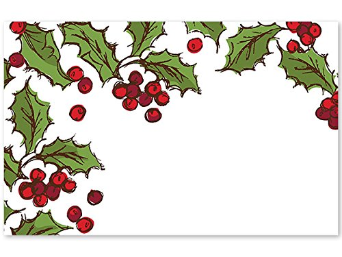 Pack Of 50, Holly Berry Enclosure Cards 3-1/2'' x 2-1/4'' Made In USA by Generic