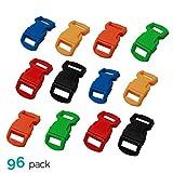 ASR Outdoor (96 Pack) Paracord Bracelet Buckle Set Assorted Colors 15mm .5 Inch