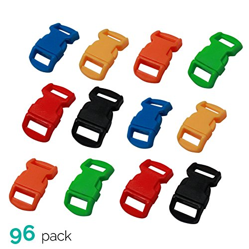 ASR Outdoor (96 Pack) Paracord Bracelet Buckle Set Assorted Colors 15mm .5 Inch by ASR Outdoor