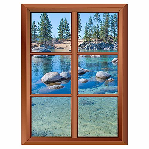 Removable Wall Sticker Wall Mural Beautiful Blue Clear Water on the Shore of the Lake Tahoe Creative Window View Vinyl Sticker