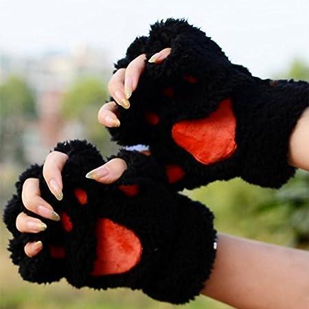Ruikey Cute Winter Warm Knitted Fingerless Gloves Half Finger Gloves Wrist Warmers for Women Girls