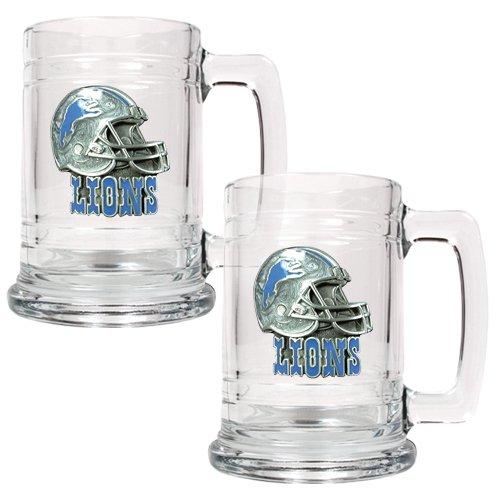 Detroit Lions 2 pc. 15 oz Glass Tankard Set- Helmet Logo ()