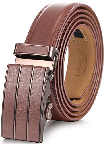 Mens Gift Belt Buckle (Marino Men's Genuine Leather Ratchet Dress Belt With Automatic Buckle, Enclosed in an Elegant Gift Box - Brown - Style 145 - Fits waist sizes up to 44