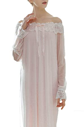 Asherbaby Women s Lace Vintage Victorian Nightgown Sheer Long Sleeve Sleep  Dress Pink US XS Asian 586d2e26f