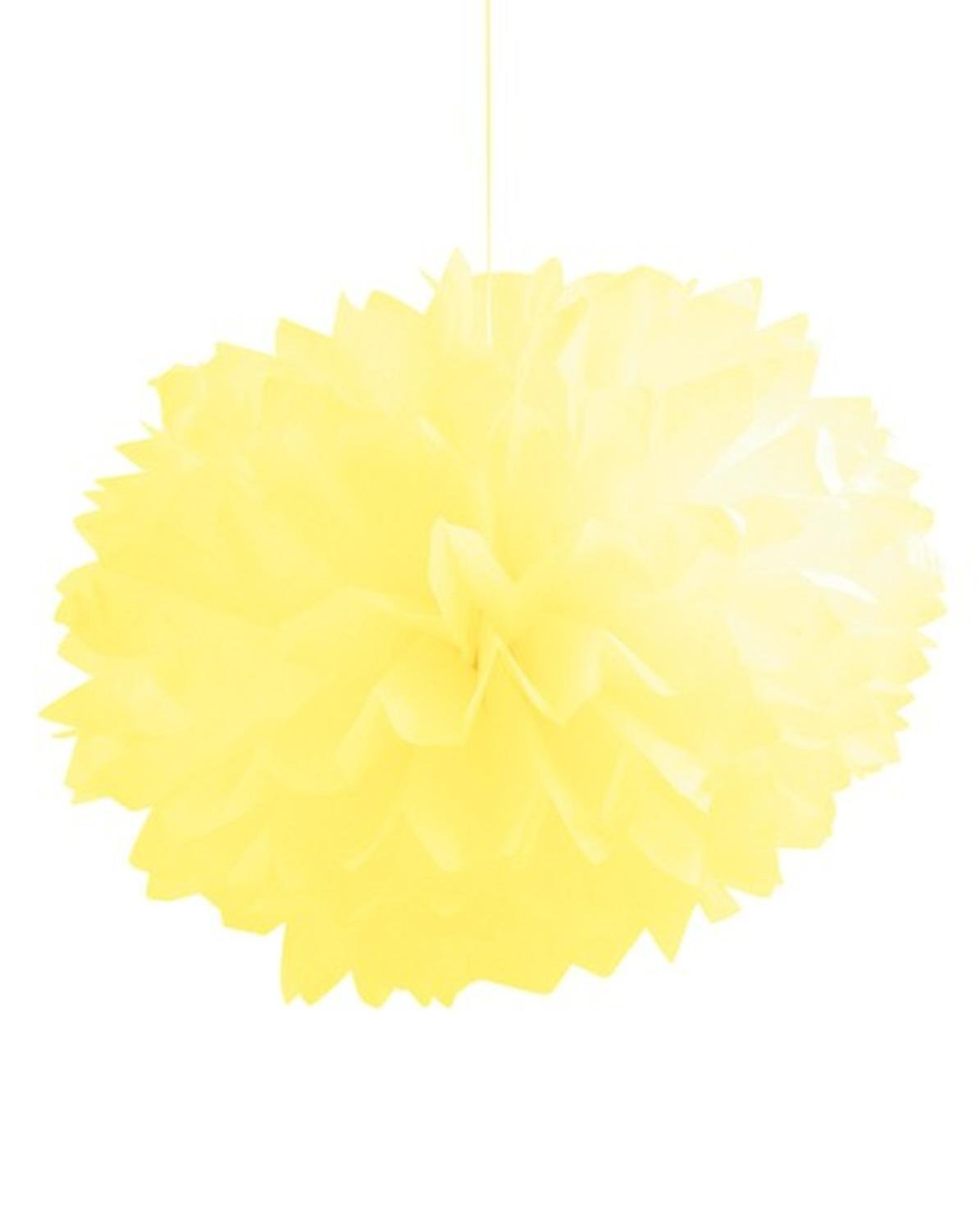 Club Pack of 36 Mimosa Yellow Fluffy Hanging Tissue Ball Party Decorations 16''