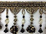 4.5' Pom Pom Crystal Beaded Tassel Fringe Trim TF-45/47-12 Black & Antique Gold (Sold by The Yard)